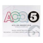 Award of Customer Service Law Firm of the Year ACQ5 2016